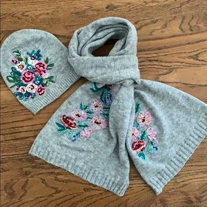 Anthropologie embroidered beanie and scarf